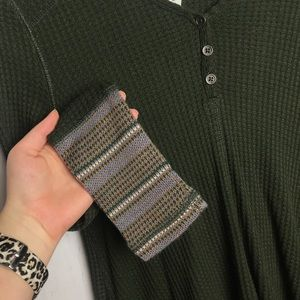 Others Follow Olive Green Waffle Print Top